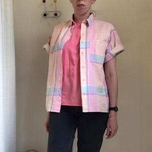 Vintage Tops - Vintage 1980s Oversized Pink Pastel Plaid Shirt